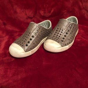 Size 8C pewter Native slip on shoes.